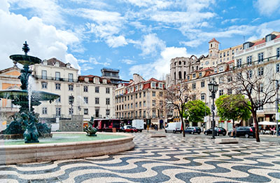 Fountain on Rossio Square in Lisbon, Portugal