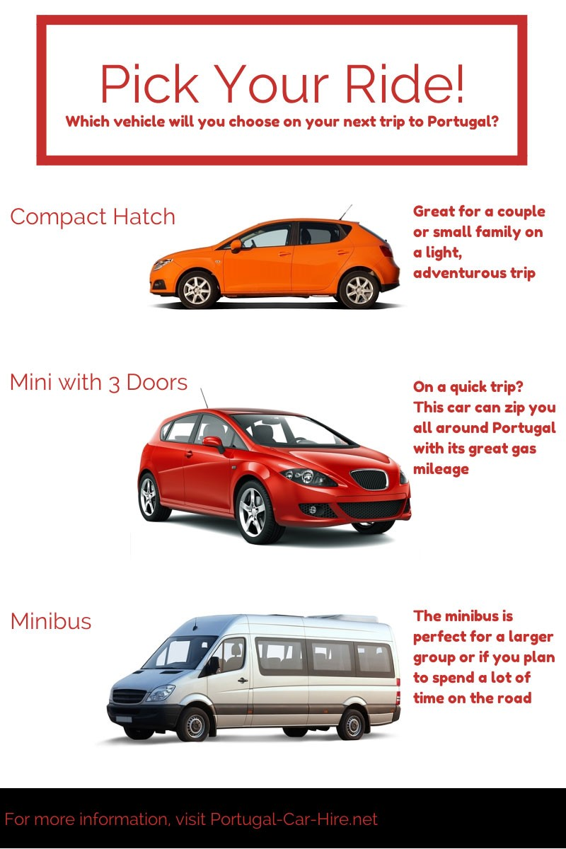Choose from compact hatch, mini with 3 doors, or a minibus